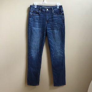 AE Hi Rise Slim Stretch X Jeans 10  Dark Wash
